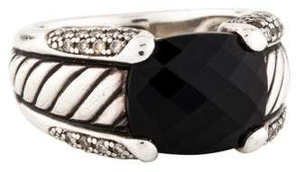 David Yurman Onyx & Diamond Cable Ring