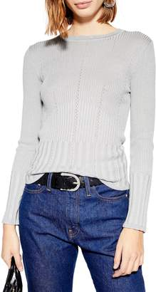 Topshop Pointelle Ribbed Top