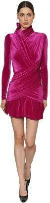 Balenciaga Draped Stretch Velvet Dress
