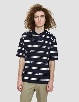Sacai Dixie Stripe T-Shirt in Navy/White