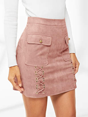 Shein Lace Up Detail Flap Pocket Suede Skirt