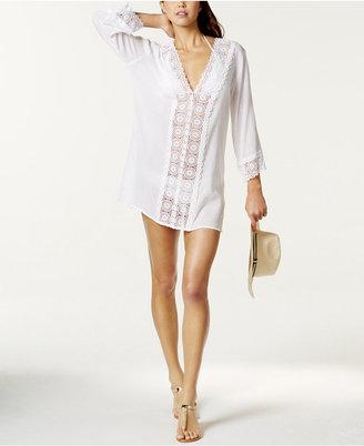 La Blanca Crochet-Trim Tunic Cover-Up Women's Swimsuit $99 thestylecure.com