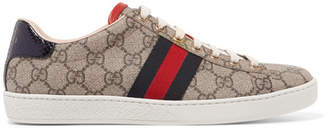 Gucci Ace Gg Supreme Metallic Watersnake-trimmed Logo-print Coated-canvas Sneakers - Gray
