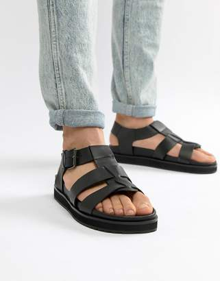 Dune Chunky Sandals In Black Leather