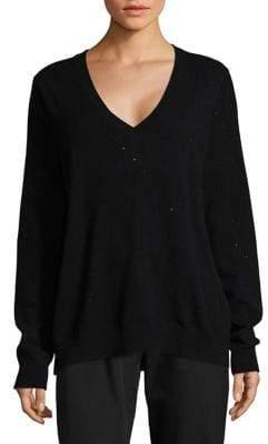 Lord & Taylor Long Sleeve Embellished V-Neck Sweater