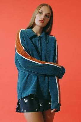 Urban Outfitters Juno Velour Half-Zip Sweater