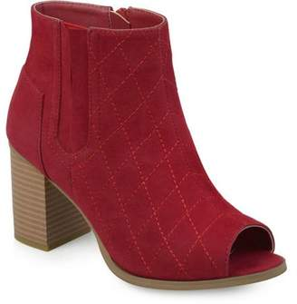 Brinley Co. Womens Stacked Heel Open Toe Quilted Booties