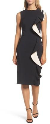 Women's Maria Bianca Nero Colorblock Ruffle Sheath Dress $298 thestylecure.com