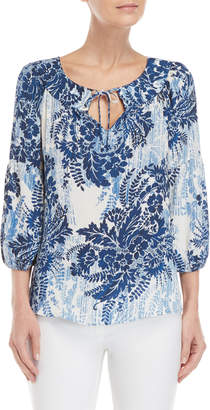 London Times Petite Printed Tie Front Top