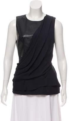 J. Mendel Leather & Silk Top