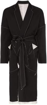 Sulvam wool tie waist over coat