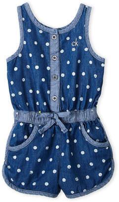 Calvin Klein Toddler Girls) Polka Dot Print Chambray Romper
