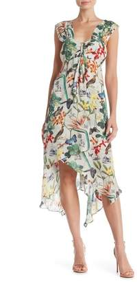 Nicole Miller Printed Silk Asymmetrical Hem Dress