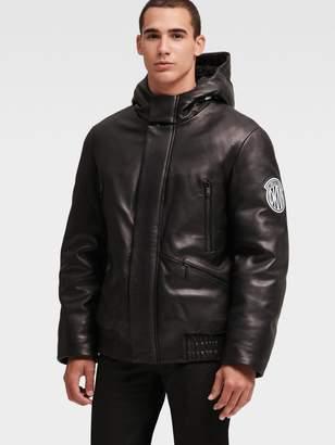 DKNY Leather Logo Bomber Coat