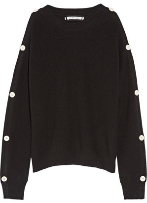 Helmut Lang - Cutout Button-detailed Cotton And Cashmere-blend Sweater - Black $395 thestylecure.com