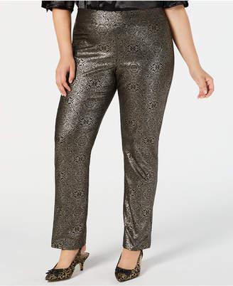 JM Collection Plus Size Metallic Tummy-Control Pants