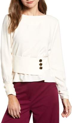 J.o.a. Belted Button Top