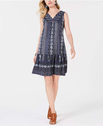 Style&Co. Style & Co Print Ruffled-Hem Sleeveless Dress, Created for Macy's
