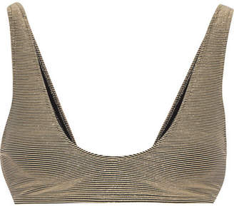 Rochelle Sara The Laeti Metallic Ribbed Bikini Top - Gold
