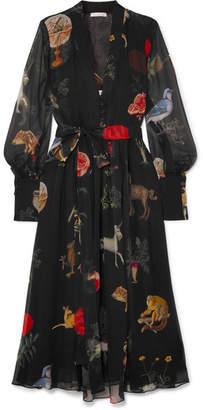 Oscar de la Renta Belted Printed Silk-chiffon Midi Dress - Black