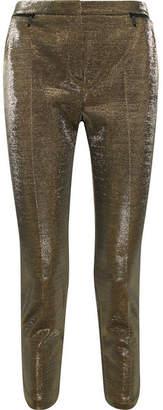Karl Lagerfeld Cropped Cotton-blend Lamé Slim-leg Pants - Gold