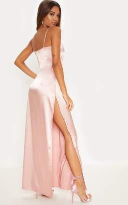 PrettyLittleThing Rose Strappy Plunge Satin Slip Maxi Dress