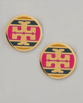 Tory Burch Enamel Striped Logo Earrings, Magenta