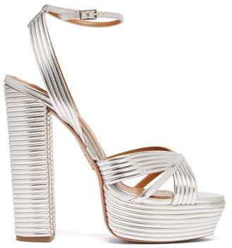 Aquazzura Sundance 130 Leather Platform Sandals - Womens - Silver