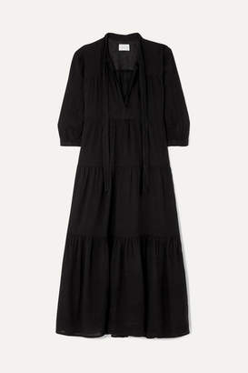 Honorine - Giselle Tiered Crinkled Cotton-gauze Midi Dress - Black