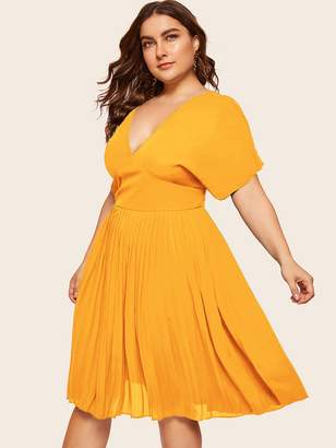 Shein Plus Tied Back Pleated Dress