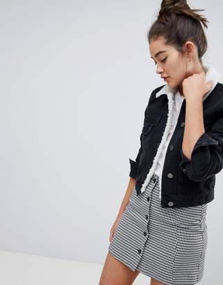 Asos Design DESIGN denim shrunken jacket with borg collar in washed black