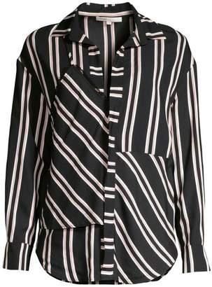 Maje Larencia Striped Trompe L'oeil Collared Shirt