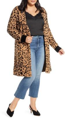 1 STATE 1.STATE Leopard Jacquard Eyelash Cardigan