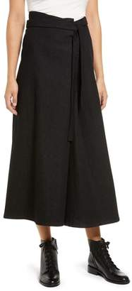 SIMPLE BY TRISTA Washed Denim Wrap Skirt Pants