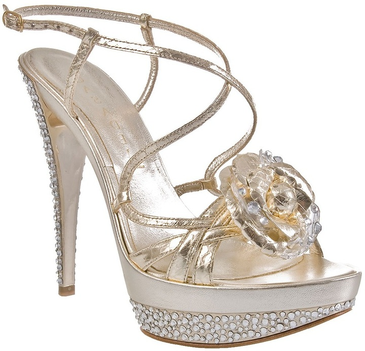 Casadei Leather sandals with corsage and crystals