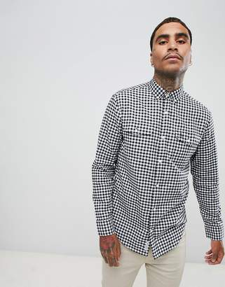 Original Penguin textured gingham check shirt buttondown slim fit embroidered logo in black
