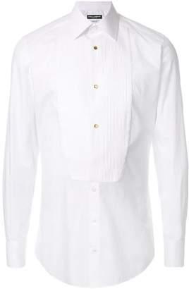 Dolce & Gabbana pleated bib button shirt