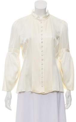 Andrew Gn Plissé-Accented Button Up Top