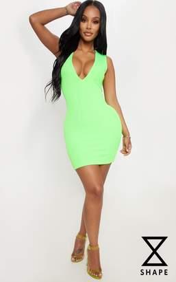 PrettyLittleThing Shape Neon Lime Bandage Plunge Bodycon Dress