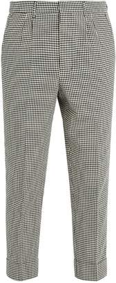 Ami Tapered-leg gingham-cotton cropped trousers