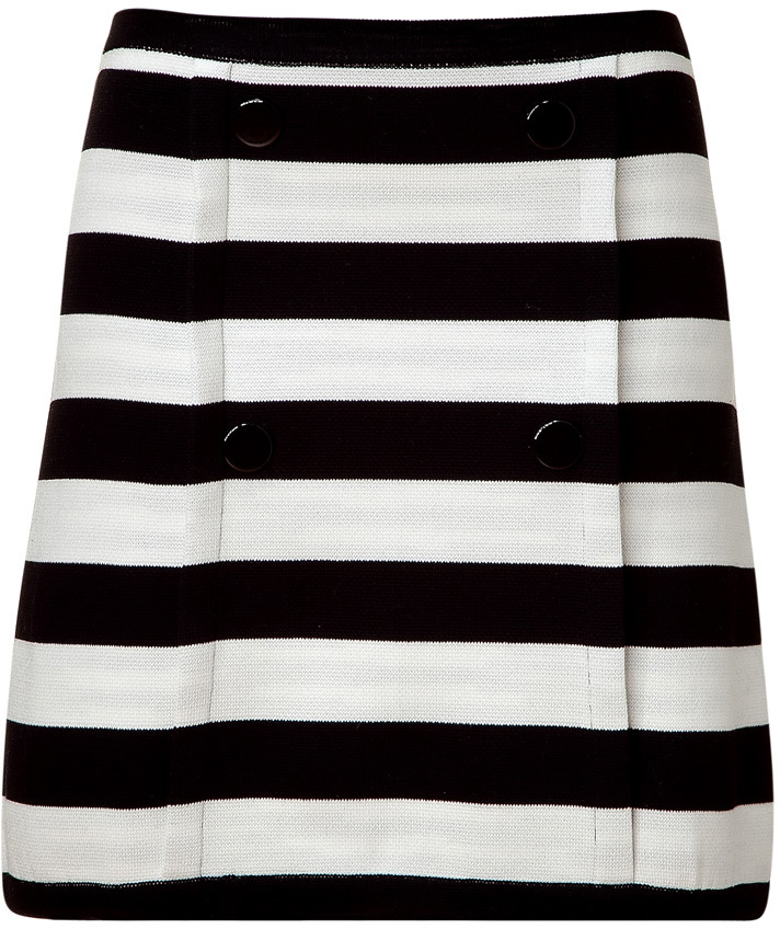 M Missoni Black/Cream Striped Knit Skirt with Front Buttons