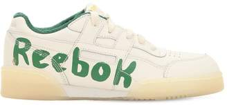 Graffiti Logo Faux Leather Sneakers