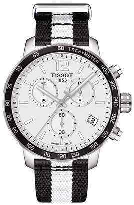 Tissot Men's NBA Brooklyn Nets Quickster Chronograph NATO Strap Watch, 42mm
