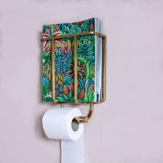 Graham and Green Baldwin Antique Gold Magazine and Toilet Roll Holder