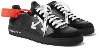 Off-White Off White Low 2.0 Suede-Trimmed Full-Grain Leather Sneakers - Men - Black