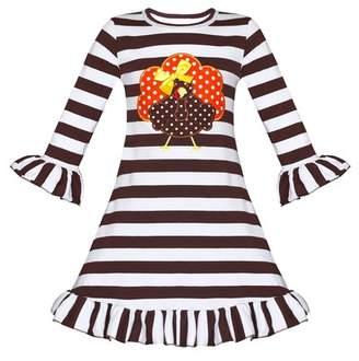 Mia Belle Girls Thanksgiving Themed Long Sleeve Striped Turkey Ruffled Dress (Toddler & Little Girls)