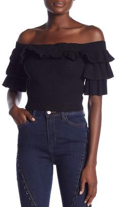 Wow Couture Cropped Ruffle Knit Top