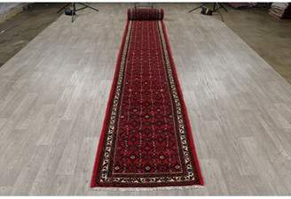 "Rugsource Geometric Red Hossainabad Persian Oriental Hand-Knotted Wool Runner Rug 28'10""X2'9"" Rugsource"