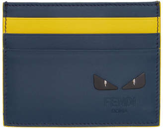Fendi Blue and Yellow I See You Card Holder