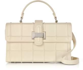 Rodo Ivory Calf Leather Top Handle Satchel bag w/Shoulder Strap